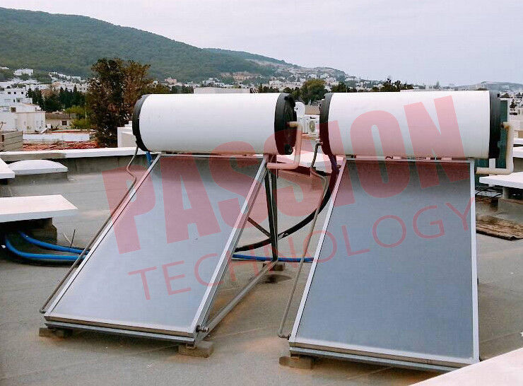 150L 300L Pressurized Flat Plate Solar Water Heater With White Tank Copper Sheet
